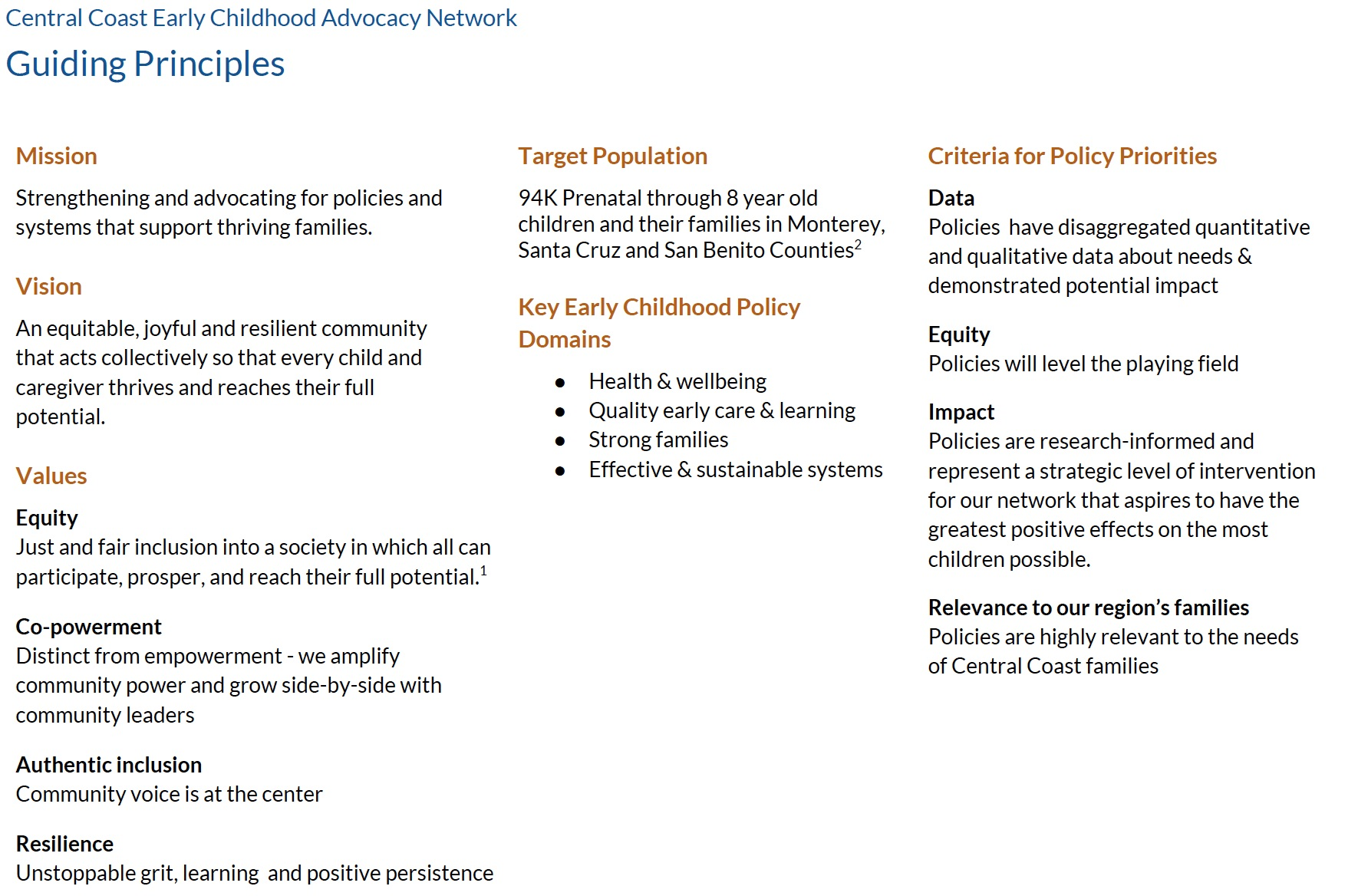 Early Childhood Research Needs Update >> Central Coast Early Childhood Advocacy Network First 5 Monterey County
